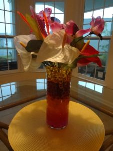 tropical centerpiece with water beads