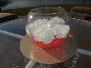DIY floral centerpiece using water gel crystals